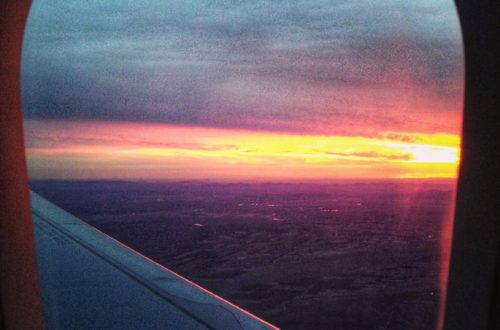 Sunset out the airplane window